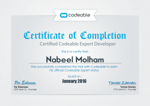 Codebale Certificate